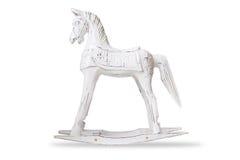 Hölzerner Schaukelstuhl des Hauptdekors Pferde- lokalisierter Gegenstand auf Weiß Lizenzfreie Stockfotografie