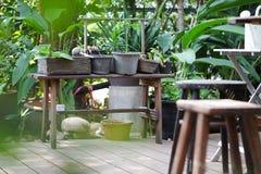 Hölzerner Schemel im grünen Garten Stockbild