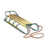 Hölzerner Schlitten mit einem Seil Stockfotografie