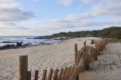 Hölzerner Schutz der Stranddünen stockbild