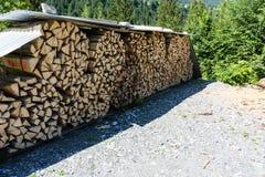 Hölzerner Stapel im Wald Stockfoto