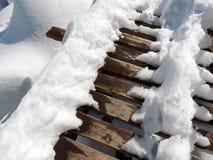 Hölzerner Steg Snowy Stockfoto
