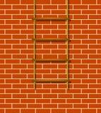 Hölzerner Strickleiter und Backsteinmauer Stockfotografie