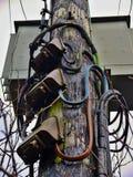 Hölzerner Strompfosten Stockbilder