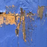 Hölzerner strukturierter Hintergrund - alte blaue gebrochene und Schalen-Farbe Lizenzfreie Stockfotografie