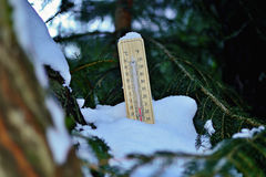 Hölzerner Thermometer Mercurys stockfoto