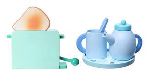 Hölzerner Toaster-und Tee-Satz Stockbilder