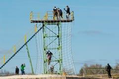 Hölzerner Turm mit Nettotreppe Stockfoto