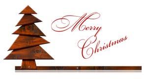 Hölzerner und stilisierter Weihnachtsbaum Stockfotos