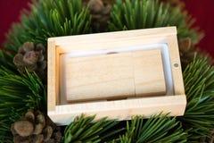 Hölzerner usb-Blitz-Antrieb in der Holzkiste auf Weihnachtsbaum Lizenzfreies Stockbild