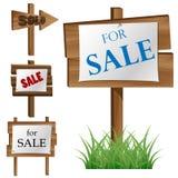 Hölzerner Verkaufsbrettsatz Stockbilder