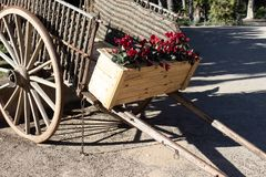 Hölzerner Wagen mit Blumen - sonniger Tag lizenzfreies stockbild