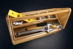 Hölzerner Werkzeugkasten Stockbilder
