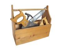 Hölzerner Werkzeugkasten mit Hilfsmitteln Stockfotos