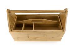 Hölzerner Werkzeugkasten mit Hilfsmitteln Stockbilder