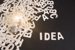Hölzernes Alphabet mit Ideenwort und Glühlampe auf Tabelle Lizenzfreie Stockfotos