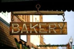 Hölzernes Bäckerei-Zeichen Stockbild