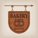 Hölzernes Bäckereizeichen der Weinlese Stockfotografie