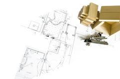 Hölzernes Baumuster des Hauses und der Lichtpausen Stockbild