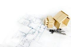 Hölzernes Baumuster des Hauses und der Lichtpausen Stockbilder