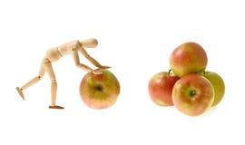 Hölzernes Baumuster rollt einen Apfel zum Haufen der Äpfel Stockbilder