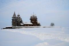 Hölzernes berühmtes russisches Museum Kizhi Stockfoto