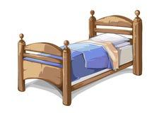 Hölzernes Bett in der Karikaturart Auch im corel abgehobenen Betrag lizenzfreie abbildung