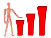 Hölzernes blindes und rote wachsende Stange drei Lizenzfreie Stockbilder