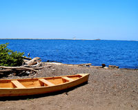 Hölzernes Boot auf See Erie Lizenzfreie Stockfotos