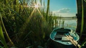 Hölzernes Boot mit Rudern in den Schilfen auf dem Ufer des Sees an einem sonnigen Tag in der Landschaft lizenzfreie stockfotografie