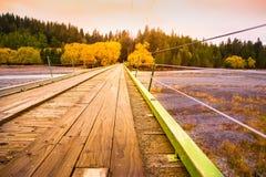 Hölzernes Brückenkreuz der Fluss in der Herbstsaison; NEUSEELAND, IM APRIL 2017 stockbilder