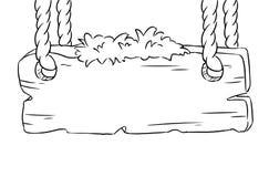 Hölzernes Brett, das an den Seilen hängt Leeres Brettskizzengekritzel lizenzfreie abbildung
