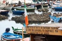 Hölzernes Brett und italienische Flagge Stockfoto