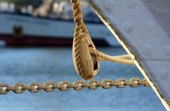 Hölzernes Detail der Segelnlieferung Stockfoto
