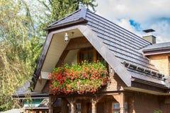 Hölzernes deutsches Haus Stockfotos