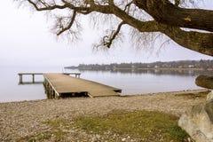 Hölzernes Dock mit Baum lizenzfreies stockbild