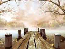 Hölzernes Dock mit Baumzweigen