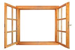 Hölzernes doppeltes Fenster einwärts geöffnet Lizenzfreie Stockfotos