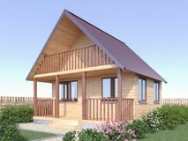 Hölzernes Dorfhaus oder -sauna im Gartenäußeren 3d übertragen vektor abbildung