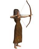 Hölzernes Elf-Bogenschütze-Mädchen Stockfotos