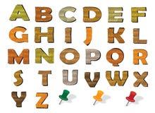 Hölzernes englisches Alphabet Stockfotografie