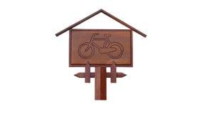 Hölzernes Fahrrad-Zeichen stockbilder
