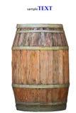 Hölzernes Fass für Wein mit Stahlring. Beschneidungspfad eingeschlossen. Stockfotos