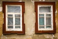 Hölzernes Fenster der alten Weinlese Stockbild
