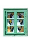Hölzernes Fenster der Weinlese Stockfotografie