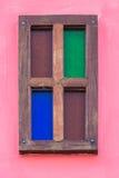 Hölzernes Fenster der Weinlese Lizenzfreie Stockfotografie