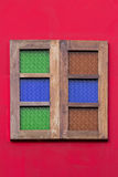 Hölzernes Fenster der Weinlese Stockfoto