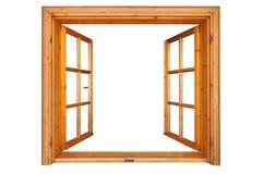 Hölzernes Fenster geöffnet stockfoto
