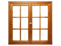 Hölzernes Fenster lokalisiert lizenzfreie stockbilder