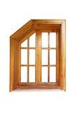 Hölzernes Fenster mit geschnittener Ecke und Gehäuse Stockbild